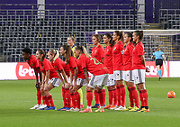Team photo of Benfica at the start of a female soccer game between RSC Anderlecht Dames and Portugese Benfica Ladies  in the second qualifying round for the Uefa Womens Champions League of the 2020 - 2021 season , Wednesday 18 th of November 2020  in ANDERLECHT , Belgium . PHOTO SPORTPIX.BE | SPP | SEVIL OKTEM