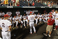 Indiana Hoosiers head coach Tracy Smith #12 addresses his team following Game 6 of the 2013 Men's College World Series between the Indiana Hoosiers and Mississippi State Bulldogs at TD Ameritrade Park on June 17, 2013 in Omaha, Nebraska. (Brace Hemmelgarn/Four Seam Images)
