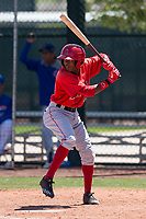 Los Angeles Angels shortstop Daniel Ozoria (23) at bat during an Extended Spring Training game against the Chicago Cubs at Sloan Park on April 14, 2018 in Mesa, Arizona. (Zachary Lucy/Four Seam Images)