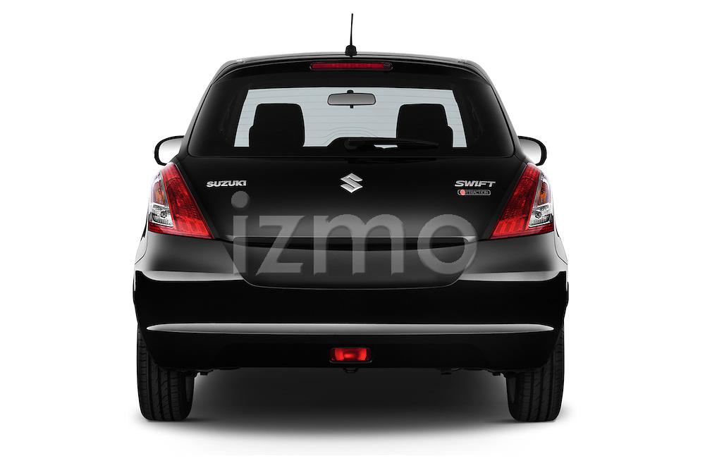 Straight rear view of2013 Suzuki SWIFT Grand Luxe @ttraction 5 Door Hatchback 2WD Rear View  stock images