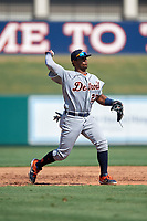 Detroit Tigers third baseman Alvaro Gonzalez (27) throws to first base during a Florida Instructional League intrasquad game on October 17, 2020 at Joker Marchant Stadium in Lakeland, Florida.  (Mike Janes/Four Seam Images)