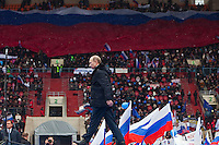 Moscow, Russia, 23/02/2012..Russian Prime Minister Vladimir Putin strides across the stage during  a presidential election campaign rally in Luzhniki sports stadium attended by a crowd of some 130,000 people.