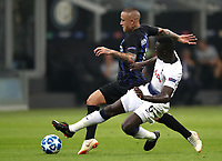 Football Soccer: UEFA Champions League FC Internazionale Milano vs Tottenham Hotspur FC, Giuseppe Meazza stadium, September 15, 2018.<br /> Inter's Radja Nainggolan (l) in action with Tottenham's Davinson Sanchez (r) during the Uefa Champions League football match between Internazionale Milano and Tottenham Hotspur at Giuseppe Meazza (San Siro) stadium, September 18, 2018.<br /> UPDATE IMAGES PRESS/Isabella Bonotto