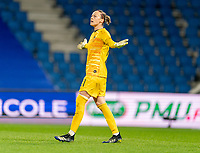 LE HAVRE, FRANCE - APRIL 13: Pauline Peyraud-Magnin #21 of France yells to the referee during a game between France and USWNT at Stade Oceane on April 13, 2021 in Le Havre, France.