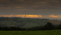 07/09/16<br /> <br /> After one of the warmest September nights on record the rising sun only just manages to cut through claggy cloud above Idridgehay in the Derbyshire Dales.<br />   <br /> All Rights Reserved, F Stop Press Ltd. +44 (0)1773 550665