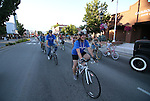 Riders cruise through downtown Carson City during the first annual Blinky Man event in downtown Carson City, Nev., on Wednesday, June 19, 2013.<br /> Photo by Cathleen Allison