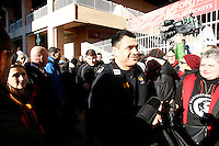 Photo: Richard Lane/Richard Lane Photography. RC Toulon v Wasps.  European Rugby Champions Cup. 17/01/2016. Wasps' George Smith arrives at the stadium.