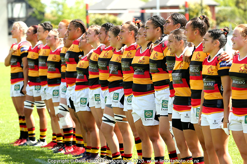 The Waikato team lines up before the 2020 Farah Palmer Cup women's rugby final between Canterbury and Waikato at Rugby Park in Christchurch, New Zealand on Saturday, 31 October 2020. Photo: Martin Hunter / lintottphoto.co.nz