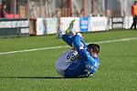 Hamilton Academical St Johnstone....04.04.15<br /> Michael O'Halloran rolls about after being fouled by Martin Canning<br /> Picture by Graeme Hart.<br /> Copyright Perthshire Picture Agency<br /> Tel: 01738 623350  Mobile: 07990 594431