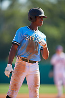 Brennon McNair (15) during the WWBA World Championship at Terry Park on October 8, 2020 in Fort Myers, Florida.  Brennon McNair, a resident of Magee, Mississippi who attends Magee High School, is committed to South Alabama.  (Mike Janes/Four Seam Images)