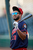 Peoria Chiefs Dennis Ortega (28) during batting practice before a game against the Bowling Green Hot Rods on September 15, 2018 at Bowling Green Ballpark in Bowling Green, Kentucky.  Bowling Green defeated Peoria 6-1.  (Mike Janes/Four Seam Images)