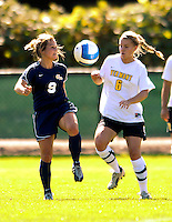 2 September 2007: George Washington University Colonials' Nicole Trickett, a Senior from Eugene, OR, in action against the University of Vermont Catamounts at Historic Centennial Field in Burlington, Vermont. The Colonials rallied to defeat the Catamounts 2-1 in overtime during the TD Banknorth Soccer Classic...Mandatory Photo Credit: Ed Wolfstein Photo