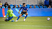 SAN JOSE, CA - MAY 12: Chris Wondolowski #8 of the San Jose Earthquakes chases the ball during a game between San Jose Earthquakes and Seattle Sounders FC at PayPal Park on May 12, 2021 in San Jose, California.