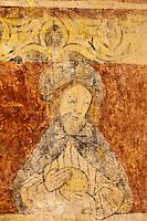 Europe/France/Aquitaine/24/Dordogne/Montferrand-du-Périgord:L'ancienne église Saint-Christophe présente des peintures murales à l'intérieur.<br /> Les peintures gothiques: Détail apotre dans ébut de la représentation de la Cène