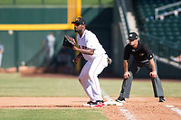 Mesa Solar Sox first baseman Josh Ockimey (28), of the Boston Red Sox organization, covers the base in front of field umpire Adam Beck during an Arizona Fall League game against the Peoria Javelinas at Sloan Park on October 24, 2018 in Mesa, Arizona. Mesa defeated Peoria 4-3. (Zachary Lucy/Four Seam Images)