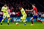 Malcom de Oliveira of FC Barcelona (C) fights for the ball with Saul Niguez of Atletico de Madrid (R) during the La Liga 2018-19 match between Atletico Madrid and FC Barcelona at Wanda Metropolitano on November 24 2018 in Madrid, Spain. Photo by Diego Souto / Power Sport Images