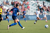 CARY, NC - SEPTEMBER 12: Kaleigh Kurtz #3 of the NC Courage passes the ball during a game between Portland Thorns FC and North Carolina Courage at Sahlen's Stadium at WakeMed Soccer Park on September 12, 2021 in Cary, North Carolina.
