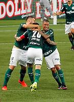 São Paulo (SP), 11/03/2021 - Palmeiras-Santo André - Lucas Lima comemora gol do Palmeiras. Partida entre Palmeiras e Santo André válida pelo Campeonato Paulista na noite desta quinta-feira (11) no Allianz Parque em São Paulo.