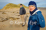 Surveying the erosion of the sand cliffs in Poll Gorm on Banna Strand on Saturday morning. Front right: Pat Lawlor with John Lane.