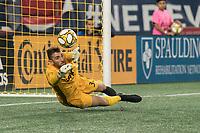 FOXBOROUGH, MA - SEPTEMBER 29: Matt Turner #30 of New England Revolution saves a goal during a game between New York City FC and New England Revolution at Gillettes Stadium on September 29, 2019 in Foxborough, Massachusetts.