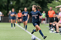 NEWTON, MA - AUGUST 29: Emma Zaccagnini #11 of University of Connecticut looks to pass during a game between University of Connecticut and Boston College at Newton Campus Soccer Field on August 29, 2021 in Newton, Massachusetts.