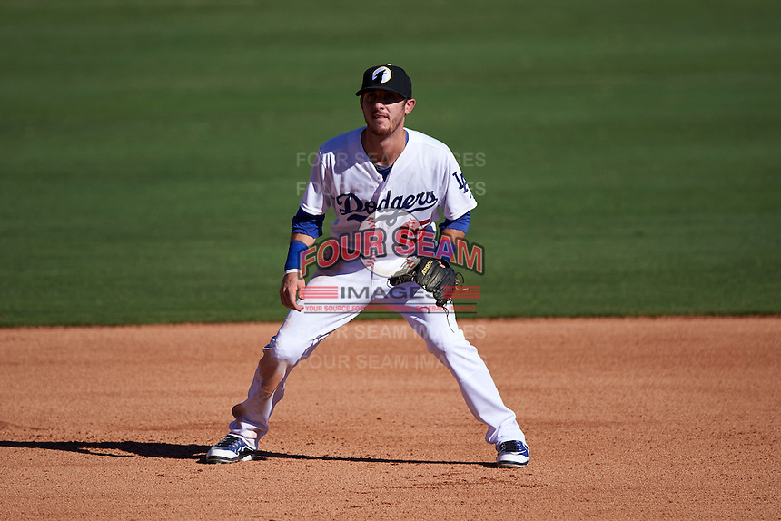 Glendale Desert Dogs third baseman Brandon Trinkwon (15) during an Arizona Fall League game against the Surprise Saguaros on October 24, 2015 at Camelback Ranch in Glendale, Arizona.  Surprise defeated Glendale 18-3.  (Mike Janes/Four Seam Images)