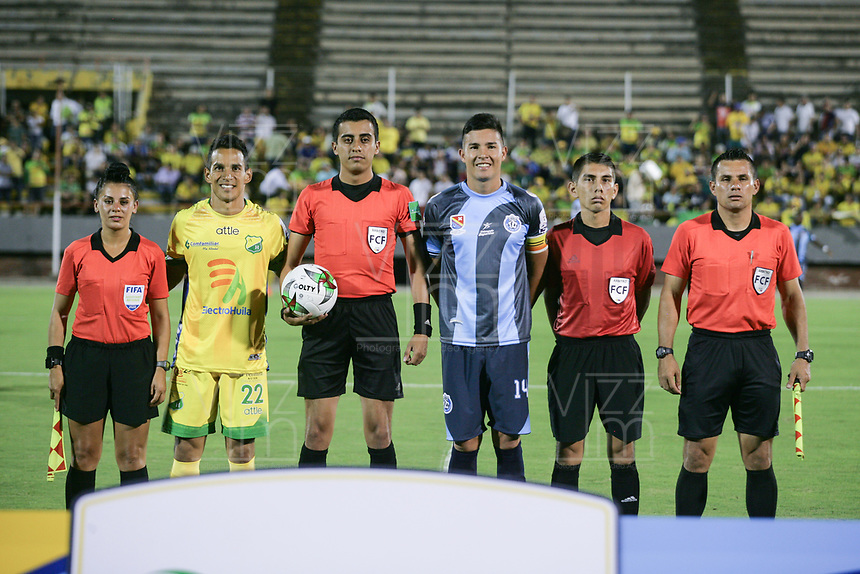 NEIVA - COLOMBIA, 05-02-2020: Atlético Huila  y Real San Andrés en partido por fecha 1 del Torneo BetPlay DIMAYOR I 2020 jugado en el estadio Guillermo Plazas Alcid de la ciudad de Neiva. /Atletico Huila and Real San Andres for the date 1 of the BetPlay DIMAYOR Tournament  I 2020 played at Guillermo Plazas Alcid stadium in Neiva city. Photo: VizzorImage / Sergio Reyes / Cont