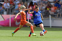Houston, TX - Saturday May 27, 2017: Denise O'Sullivan (13) of the Houston Dash battles Rumi Utsugi for the ball during a regular season National Women's Soccer League (NWSL) match between the Houston Dash and the Seattle Reign FC at BBVA Compass Stadium.