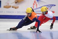 "SHORT TRACK: MOSCOW: Speed Skating Centre ""Krylatskoe"", 13-03-2015, ISU World Short Track Speed Skating Championships 2015, 1500m Men, Sjinkie KNEGT (#148   NED), Charles HAMELIN (#110   CAN), ©photo Martin de Jong"