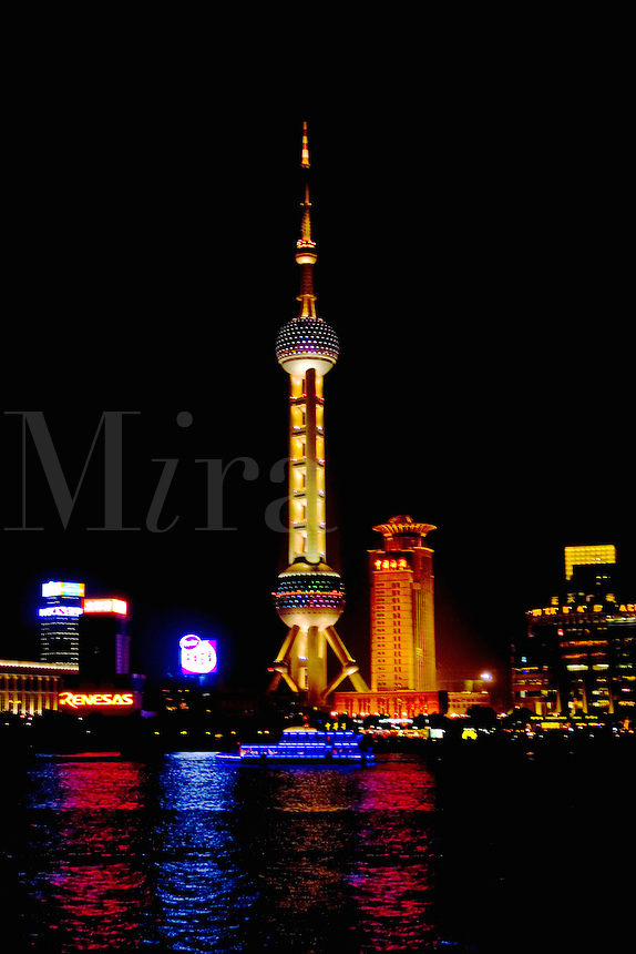 Shanghai China wonderful skyline with modern skyscrapers by river at night with Oriental Tower in China