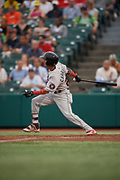 Tri-City ValleyCats Deury Carrasco (23) bats during a NY-Penn League game against the Brooklyn Cyclones on August 17, 2019 at MCU Park in Brooklyn, New York.  Brooklyn defeated Tri-City 2-1.  (Mike Janes/Four Seam Images)