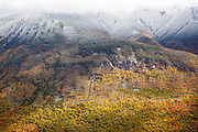 Franconia Notch State Park from Hi-Cannon Trail during the autumn months. This trail leads to the summit of Cannon Mountain in the White Mountains, New Hampshire USA.