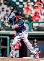 25 February 2019: Atlanta Braves catcher Tyler Flowers at bat during a pre-season Spring Training game against the Washington Nationals at Champion Stadium in the ESPN Wide World of Sports Complex in Kissimmee, Florida. The Braves defeated the Nationals 9-4 in Grapefruit League play in what will be their last season at the Disney / ESPN Wide World of Sports complex. Mandatory Credit: Ed Wolfstein Photo *** RAW (NEF) Image File Available ***