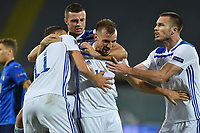 Edin Dzeko (L) of Bosnia celebrates after scoring the goal of 0-1 during the Uefa Nation League Group Stage A1 football match between Italy and Bosnia at Artemio Franchi Stadium in Firenze (Italy), September, 4, 2020. Photo Massimo Insabato / Insidefoto
