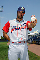 Williamsport Crosscutters pitcher Bryan Morgado (44) before game against the Staten Island Yankees at Richmond County Bank Ballpark at St. George in Staten Island, NY August 08, 2010. Yankees won 6-3.  Photo By Tomasso DeRosa/ Four Seam Images