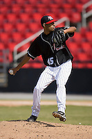 Relief pitcher Ronald Uviedo (45) in action versus the Charleston RiverDogs at L.P. Frans Stadium in Hickory, NC, Sunday, May 4, 2008.