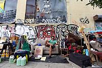 "NEW YORK - SUNDAY NEWS:  Elias Avellaneda, 34, with his ""installation art"" piece on Jefferson Street, near Wyckoff Street, Brooklyn, NY, Wednesday, September 21, 2016.<br /> <br /> PICTURED:    <br /> <br /> (Angel Chevrestt, 646.314.3206)"