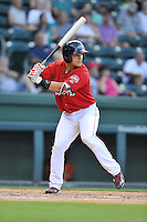 Third baseman Michael Chavis (11) of the Greenville Drive bats in a game against the Greensboro Grasshoppers on Thursday, July 14, 2016, at Fluor Field at the West End in Greenville, South Carolina. Greenville won, 3-1. (Tom Priddy/Four Seam Images)