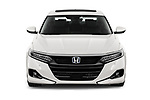 Car photography straight front view of a 2021 Honda Accord-Hybrid EX-L 4 Door Sedan Front View