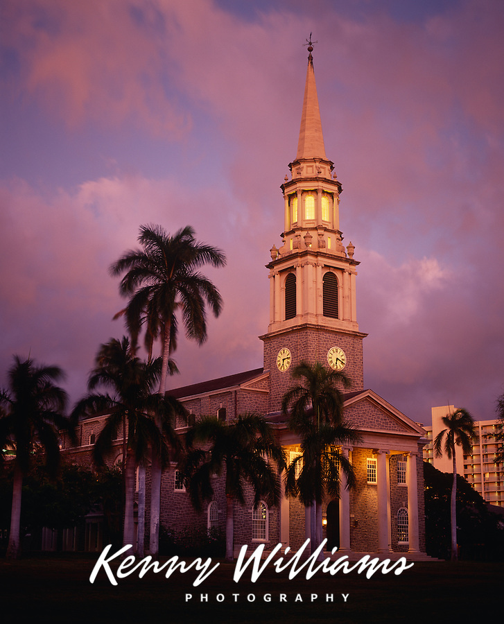 Central Union Church at Twilight, Honolulu, Oahu, Hawaii, USA.