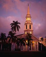 Central Union Church at Twilight, Honolulu, Oahu, Hawaii, USA.