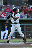 Jalen Miller (2) of the San Jose Giants bats against the Inland Empire 66ers at San Manuel Stadium on April 8, 2017 in San Bernardino, California. (Larry Goren/Four Seam Images)