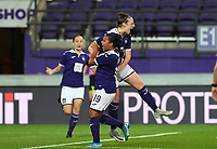 20190912 - Anderlecht , BELGIUM : Anderlecht's Britt Vanhamel pictured celebrating her goal and the 1-1 equalizer during the female soccer game between the Belgian Royal Sporting Club Anderlecht Dames  and BIIK Kazygurt from Shymkent in Kazachstan, this is the first leg in the round of 32 of the UEFA Women's Champions League season 2019-20120, Thursday 12 th September 2019 at the Lotto Park in Anderlecht , Belgium. PHOTO SPORTPIX.BE | DAVID CATRY