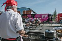 Peloton riding a local lap at the start in Seraing. <br /> <br /> 82nd La Flèche Wallonne 2018<br /> 1 Day Race: Seraing - Huy (198,5km)