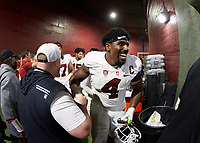 LOS ANGELES, CA - SEPTEMBER 11: Thomas Booker #4 of the Stanford Cardinal heads into the locker room after a game between University of Southern California and Stanford Football at Los Angeles Memorial Coliseum on September 11, 2021 in Los Angeles, California.