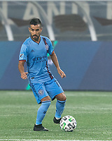 FOXBOROUGH, MA - SEPTEMBER 02: Maximiliano Moralez #10 of New York City FC looks to pass during a game between New York City FC and New England Revolution at Gillette Stadium on September 02, 2020 in Foxborough, Massachusetts.