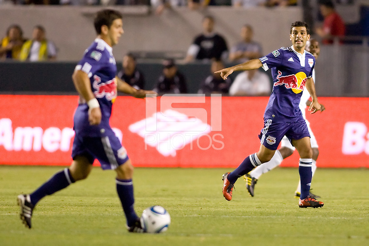 New York Red Bulls midfielder Rafael Marquez pointing giving directions. The New York Red Bulls beat the LA Galaxy 2-0 at Home Depot Center stadium in Carson, California on Friday September 24, 2010.
