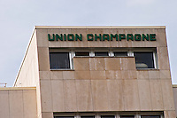 The big and modern offices and winery with a sign saying Union Champagne, the Union Champagne cooperative, also called Champagne de Saint Gall in Avize, Cote des Blancs, Champagne, Marne, Ardennes, France