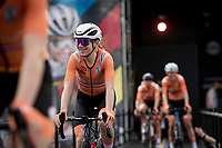Team The Netherlands is presented to the crowd at the race start in Antwerpen with Annemiek van Vleuten (NED/Movistar) enjoying the good vibes<br /> <br /> Women Elite - Road Race (WC)<br /> from Antwerp to Leuven (158km)<br /> <br /> UCI Road World Championships - Flanders Belgium 2021<br /> <br /> ©kramon