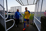 Stocksbridge players leave the field at half time. Stocksbridge Park Steels v Pickering Town,  Evo-Stik East Division, 17th November 2018. Stocksbridge Park Steels were born from the works team of the local British Steel plant that dominates the town north of Sheffield.<br /> Having missed out on promotion via the play offs in the previous season, Stocksbridge were hovering above the relegation zone in Northern Premier League Division One East, as they lost 0-2 to Pickering Town. Stocksbridge finished the season in 13th place.